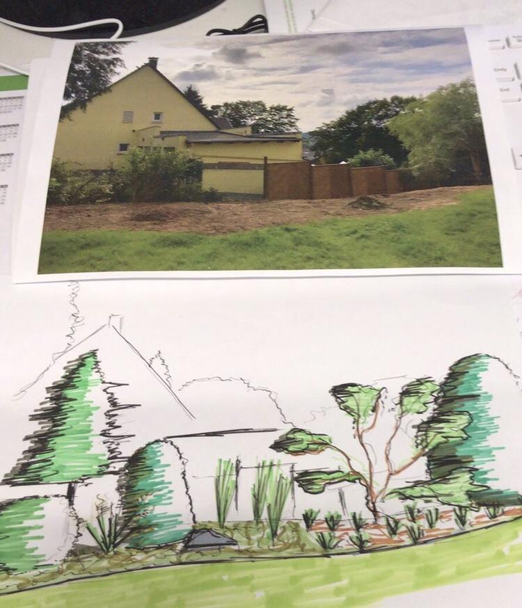 Gartenskizze basierend auf einem Foto
