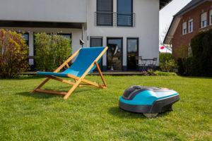 Mähroboter im Garten