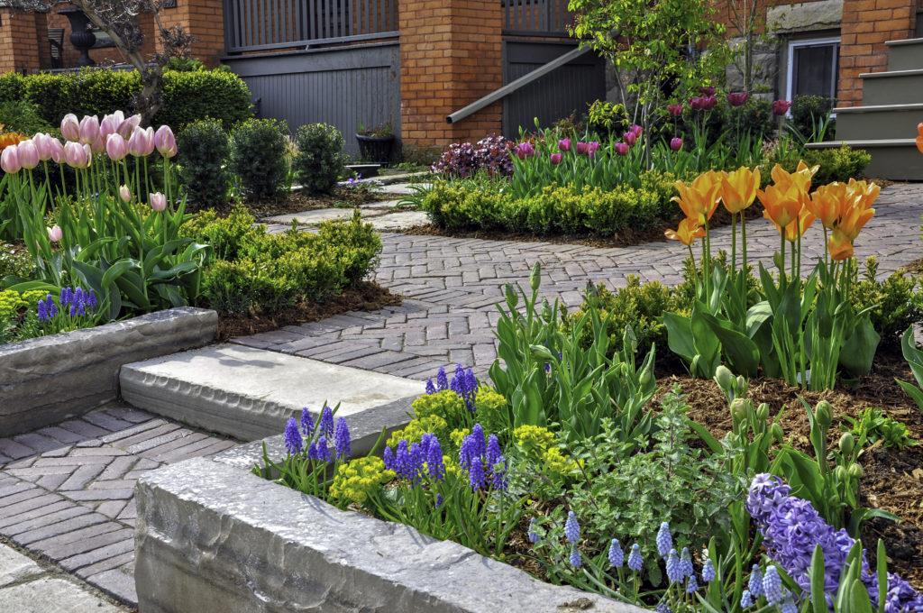 Urbaner Stadtgarten mit Blumen