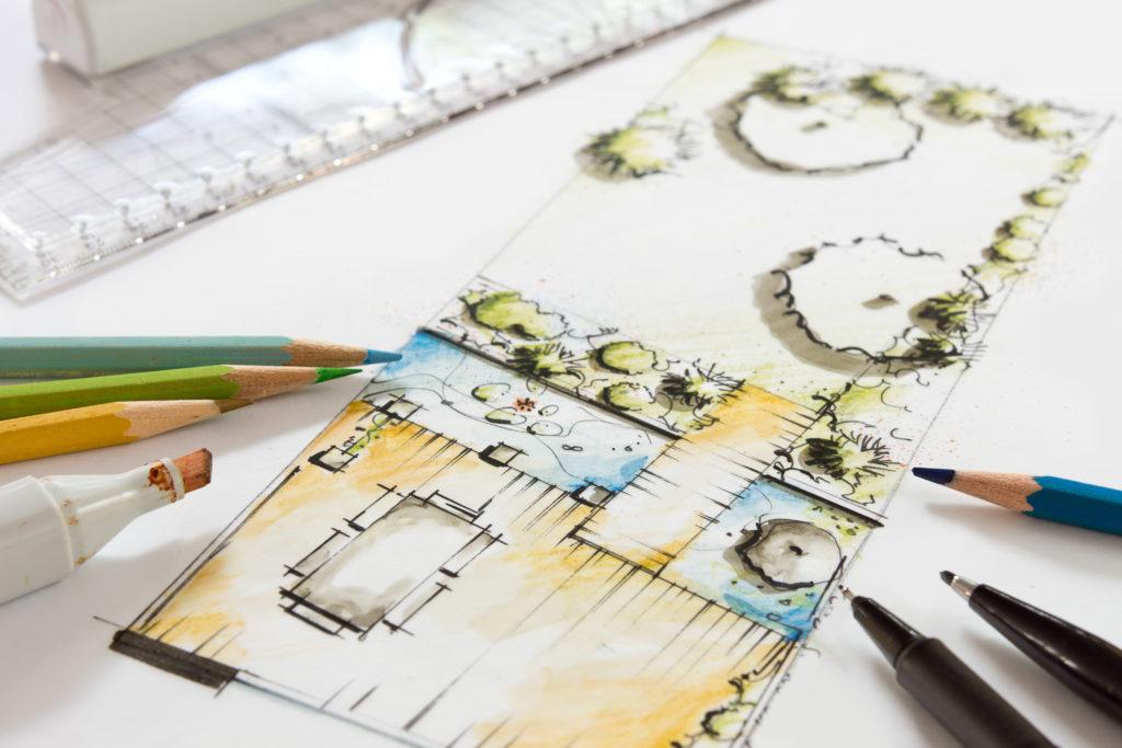 Planungszeichnung eines Gartens