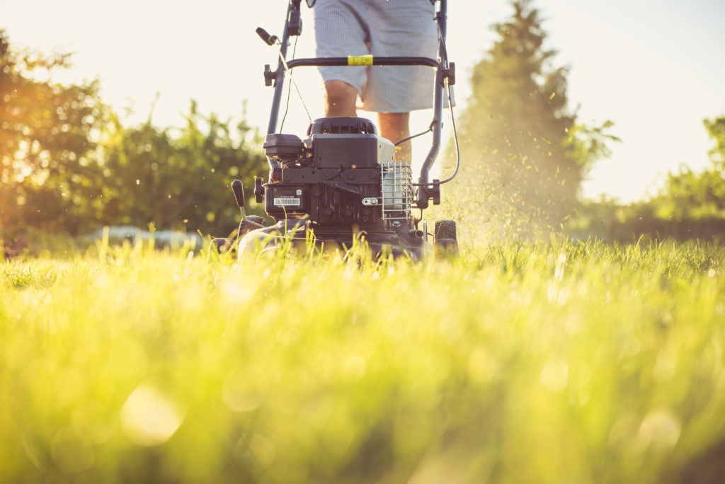 Mann beim Rasenmähen